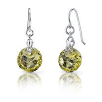 Spherical Cut 7.50 carats Lemon Quartz Fishhook Earrings Sterling Silver Style SE6998