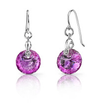 Spherical Cut 10.50 carats Pink Sapphire Fishhook Earrings Sterling Silver Style SE7000