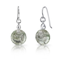 Spherical Cut 7.00 carats Green Amethyst Fishhook Earrings Sterling Silver Style SE7002