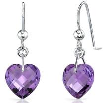 Extraordinary 6.50 carats Heart Shape Genuine Amethyst earrings in Sterling Silver Style SE7084