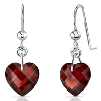Brilliant 9.00 carats Heart Shape Genuine Garnet earrings in Sterling Silver Style SE7086