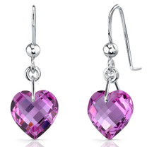 Extraordinary 9.75 carats Heart Shape Pink Sapphire earrings in Sterling Silver Style SE7096