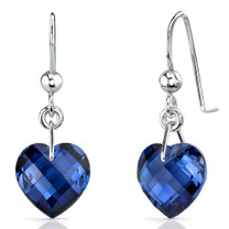 Classy 9.75 carats Heart Shape Blue Sapphire earrings in Sterling Silver Style SE7100