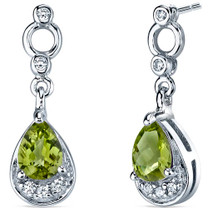 Simply Classy 1.50 Carats Peridot Dangle Earrings in Sterling Silver Style SE7142