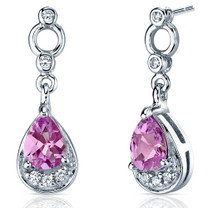 Simply Classy 2.00 Carats Pink Sapphire Dangle Earrings in Sterling Silver Style SE7150