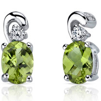 Sleek and Radiant 1.50 Carats Peridot Earrings in Sterling Silver Style SE7158