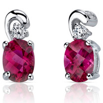 Sleek and Radiant 1.50 Carats Ruby Earrings in Sterling Silver Style SE7164