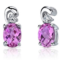 Sleek and Radiant 2.00 Carats Pink Sapphire Earrings in Sterling Silver Style SE7166