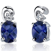 Sleek and Radiant 2.00 Carats Blue Sapphire Earrings in Sterling Silver Style SE7168