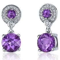 Refined Elegance 4.00 Carats Amethyst Dangle Earrings in Sterling Silver Style SE7170
