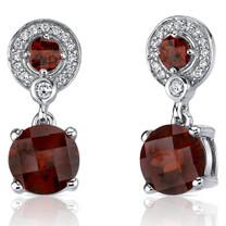 Refined Elegance 5.50 Carats Garnet Dangle Earrings in Sterling Silver Style SE7172