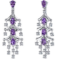 Captivating Seduction 4.00 Carats Amethyst Dangle Earrings in Sterling Silver Style SE7184