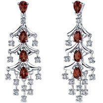 Captivating Seduction 4.00 Carats Garnet Dangle Earrings in Sterling Silver Style SE7186