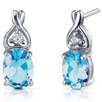 Classy Style 2.50 Carats Swiss Blue Topaz Oval Cut CZ Earrings in Sterling Silver Style SE7210