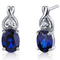Classy Style 3.50 Carats Blue Sapphire Oval Cut CZ Earrings in Sterling Silver Style SE7216