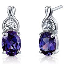 Classy Style 3.50 Carats Alexandrite Oval Cut CZ Earrings in Sterling Silver Style SE7220