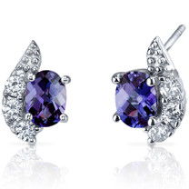 Sparkling Wave 2.00 Carats Alexandrite Oval Cut CZ Earrings in Sterling Silver Style SE7256