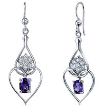 Illuminating Hearts 2.00 Carats Alexandrite Oval Cut Dangle CZ Earrings in Sterling Silver Style SE7274