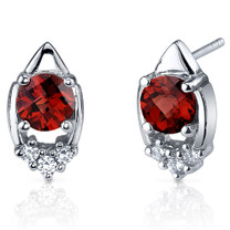 Majestic Charm 2.00 Carats Garnet Round Cut CZ Earrings in Sterling Silver Style SE7296