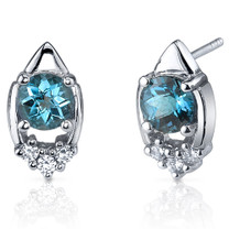 Majestic Charm 2.00 Carats London Blue Topaz Round Cut CZ Earrings in Sterling Silver Style SE7302