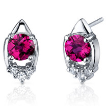 Majestic Charm 2.00 Carats Ruby Round Cut CZ Earrings in Sterling Silver Style SE7304