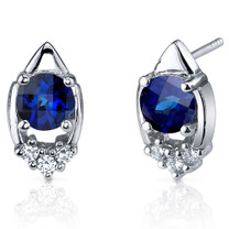 Majestic Charm 2.00 Carats Blue Sapphire Round Cut CZ Earrings in Sterling Silver Style SE7306