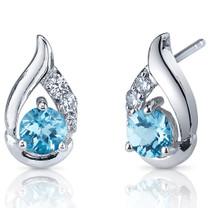 Radiant Teardrop 1.00 Carats Swiss Blue Topaz Round Cut CZ Earrings in Sterling Silver Style SE7318
