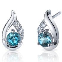 Radiant Teardrop 1.00 Carats London Blue Topaz Round Cut CZ Earrings in Sterling Silver Style SE7320