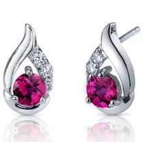 Radiant Teardrop 1.50 Carats Ruby Round Cut CZ Earrings in Sterling Silver Style SE7322