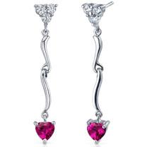 Brilliant Love 2.00 Carats Ruby Heart Shape Dangle CZ Earrings in Sterling Silver Style SE7340