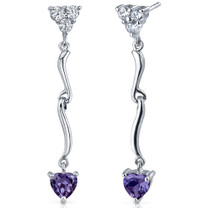 Brilliant Love 2.00 Carats Alexandrite Heart Shape Dangle CZ Earrings in Sterling Silver Style SE7346
