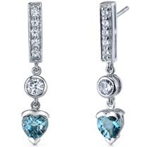 Exotic Love 2.00 Carats London Blue Topaz Heart Shape Dangle CZ Earrings in Sterling Silver Style SE7356