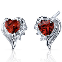 Cupids Grace 1.00 Carats Garnet Heart Shape CZ Earrings in Sterling Silver Style SE7368