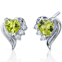 Cupids Grace 1.00 Carats Peridot Heart Shape CZ Earrings in Sterling Silver Style SE7370