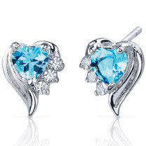 Cupids Grace 1.00 Carats Swiss Blue Topaz Heart Shape CZ Earrings in Sterling Silver Style SE7372