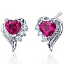 Cupids Grace 1.50 Carats Ruby Heart Shape CZ Earrings in Sterling Silver Style SE7376