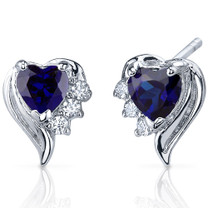 Cupids Grace 1.50 Carats Blue Sapphire Heart Shape CZ Earrings in Sterling Silver Style SE7378