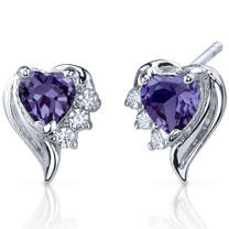 Cupids Grace 1.50 Carats Alexandrite Heart Shape CZ Earrings in Sterling Silver Style SE7382
