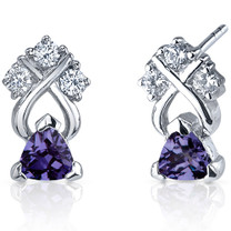 Regal Elegance 1.00 Carats Alexandrite Trillion Cut CZ Earrings in Sterling Silver Style SE7400