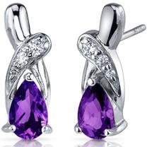 Graceful Glamour 1.50 Carats Amethyst Pear Shape CZ Earrings in Sterling Silver Style SE7420