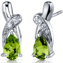 Graceful Glamour 1.50 Carats Peridot Pear Shape CZ Earrings in Sterling Silver Style SE7424
