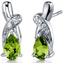 Graceful Glamour 1.50 Carats Peridot Pear Shape CZ Earrings in Sterling Silver Style SE7424