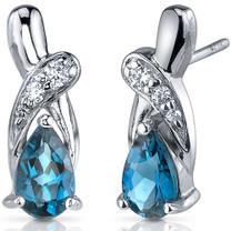 Graceful Glamour 2.00 Carats London Blue Topaz Pear Shape CZ Earrings in Sterling Silver Style SE7428
