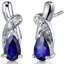 Graceful Glamour 2.00 Carats Blue Sapphire Pear Shape CZ Earrings in Sterling Silver Style SE7432