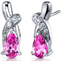 Graceful Glamour 2.00 Carats Pink Sapphire Pear Shape CZ Earrings in Sterling Silver Style SE7434