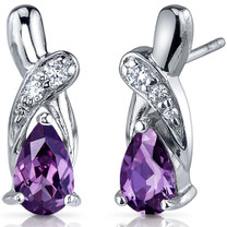 Graceful Glamour 2.00 Carats Alexandrite Pear Shape CZ Earrings in Sterling Silver Style SE7436