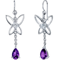 Butterfly Design 1.50 Carats Amethyst Pear Shape Dangle CZ Earrings in Sterling Silver Style SE7438
