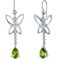 Butterfly Design 1.50 Carats Peridot Pear Shape Dangle CZ Earrings in Sterling Silver Style SE7442