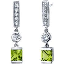 Exotic Sparkle 2.00 Carats Peridot Princess Cut Dangle CZ Earrings in Sterling Silver Style SE7460