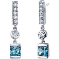 Exotic Sparkle 2.50 Carats London Blue Topaz Princess Cut Dangle CZ Earrings in Sterling Silver Style SE7464